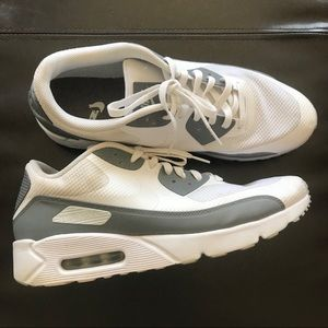 Nike Air Max 90 Ultra White Gray Athletic Shoes